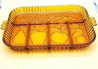 Vintage Tiara Indiana Amber Glass Divided Fruit Embossed Relish Serving Tray