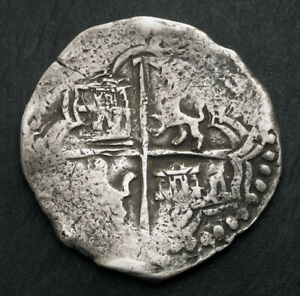 1621, Bolivia, Philip III. Spanish Colonial Silver 8 Reales Cob Coin. Curved R!