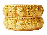 Indian Bollywood Gold plated Ethnic 2Pcs Kada Bangles Set Women Jewelry Bsv105