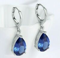 2.0 CT 14K White Gold Filled Pear Cut Teardrop Sapphire Leverback Earrings