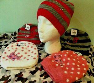 Girls Diamante Beanie Hat  Butterfly Fleece Lined or Flowers Single Knit 5-10yrs