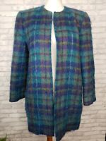 Doncaster size 6 mohair open-front coat teal blue and yellow plaid