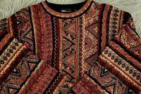 "Vintage Men's TUNDRA 1990's Multi-Colored ""Coogi-Style"" 3D Texture Sweater SZ L"