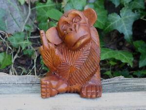 Monkey Wood Carving Finger Up Rude Wooden Handmade..