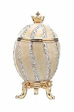 Decorative Faberge Egg / Trinket Jewel Box Twisted with Crown 2.6'' 6.5 cm cream