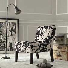 Black And White Faux Cow Hide Fabric Accent Chair By INSPIRE Q