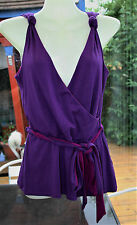 TUNIC TOP Fixed Wrap Purple & Cerise Wallis Size 12 Summer BoHo Shoulder Detail