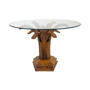 Carved Burl Wood Palm Tree Side Table glass vintage Regency Hollywood bohemian