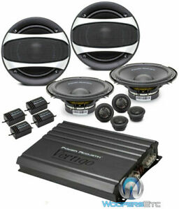 "pkg 2 POWER ACOUSTIK GF-60C 6.5"" COMPONENT SPEAKERS + VA4-1800 4-CH AMPLIFIER"