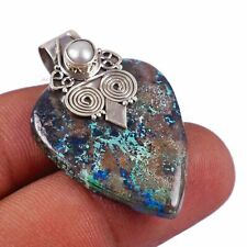 """Azurite, Pearl Solid 925 Sterling Silver Pendant Jewelry 1.6""""AP-7614"""