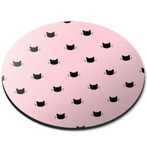 Round Mouse Mat  - Baby Pink Black Cat Kitten Heads  #44201