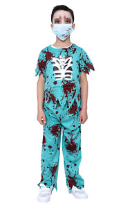 Childs Zombie Doctor Costume Boys Kids Halloween Scary Fancy Dress Outfit Book