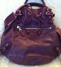Balenciaga Purple Leather Shoulder Bag Purse Sack Boho Large