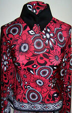 Last Piece Red Black and White Floral  Border Print Nylon Lycra Fabric 1 yd 10in