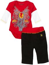 HURLEY SET OUTFIT 2 PCS SHIRT LONG PANTS BOYS 12 MONTHS MOTORCYCLE RED NEW