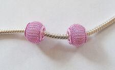 2 Metal Mesh Charm Beads - Pink - 12mm x 10mm, for Charm Bracelet