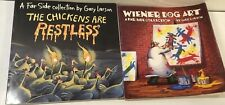 2 Books A Far Side Collection The Chickens Are Restless & Wiener Dog Art