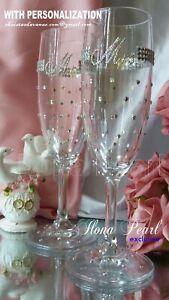 Swarovski Personalized Wedding Wine Glass Bride Groom Sparkle Bling Unique Gift