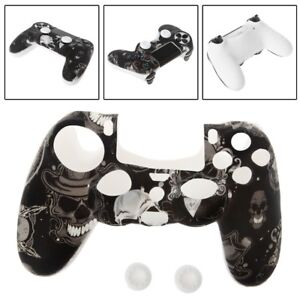 Gamepad Controller Silicone Sleeve Guard Protective Cover + 2 Grip Caps For PS4