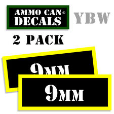 9MM Ammo Label Decals Box Stickers decals - 2 Pack BLYW