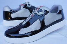 New Prada Men's Tennis Shoes Sneakers Size 9 Black Vernice Bike