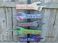 Halloween Road Sign, Witch Hand Sign Post Halloween Direction Sign Wood Yard Art