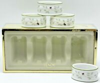 Lenox Set of 4 Porcelain Napkin Rings Butterfly Meadow in Box Ladybug Bee