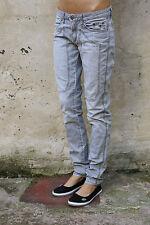 JECKERSON DONNA STRETCH SLIM FIT GRIGIO Denim Sfrangiati Jeans Sbiadito W30 UK12 LOOK!!