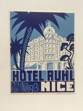Vintage Hotel Luggage Label -- Hotel Ruhl Nice France