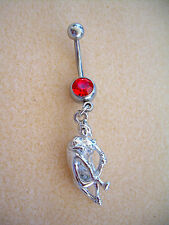 14g Kama Sutra Sex Position Navel Belly Ring Red CZ Surgical Steel #13