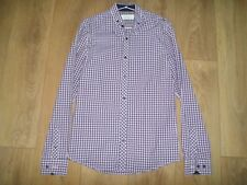 """RIVER ISLAND NAVY CHECKED COTTON SEMI FITTED SHIRT SIZE SMALL (34-36"""")"""