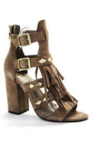 Ash Womens Strappy Fringe Brown Suede Sandals Heels Shoes Size EUR 37
