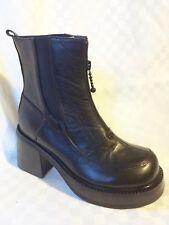 Peerage Women W/W Chunky Heel Front Zipper Motorcycle Ankle Boot Black 8 WW