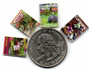 4  Gardening MAGAZINES Set -DOLLHOUSE MINIATURE 1:24 scale opening BLANK pages