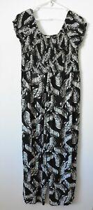 Katies Jumpsuit Size 14 Black White Floral Wide Leg Elastic Waist