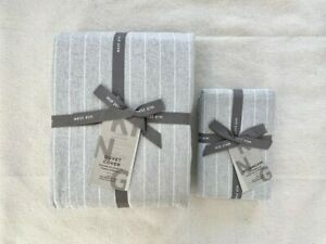 West Elm Flannel Pinstripe Duvet Cover & 2 pillowcases 3pc King Frost Gray