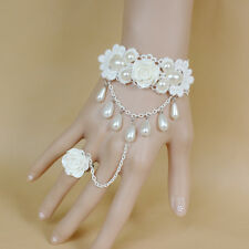 Vintage White Lace Rose Flower Pearl Slave Bracelet Chain Ring Bridal Jewelry