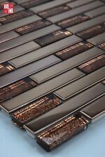 Pâte de verre carrelage mosaïque Carreaux ACIER INOX BRILLANT Brun 1m ²