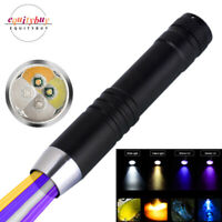 365/395nm Flashlight White Yellow Purple UV Ultra Violet Inspection Lamp Torch
