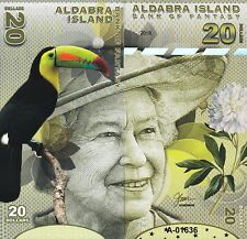 ALDABRA ISLAND 20 DOLLARS UNC 2018 FRONT AND BACK,SIDE TO SIDE FULL FACE QUE II