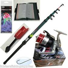 Telescopic Fishing Beach Sea 12ft Rod Reel Feathers Hooks Spike Rig Wallet Set