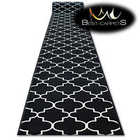 Modern Hall Carpet Runner BCF BASE black TRELLIS Stairs 60-120cm extra long RUGS