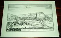 Landshut Ansicht Merian Druck Stich 1650 Panorama Städteansicht Bayern