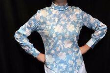 S~M Vtg 60s Blouse Ship n' Shore Blue Butterfly Floral Sheer Stripe Top Shirt