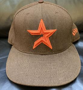 MLB Houston Astros New Era 59FIFTY Fitted Brown W/Orange Baseball Hat 7 3/8 RARE