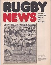 RUGBY NEWS SYDNEY VOL 52 NO 22 MANLY V UNIVERSITY OF NEW SOUTH WALES  29/6/74