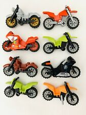 🏍 LEGO LOT : 8 MOTOR BIKE PIECES MINIFIG ACCESSORIES DIRT BIKE MOTORCYCLES 🏍