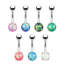 7pcs Opal Glitter Prong Set 316L Surgical Steel Belly Button Rings Naval Navel