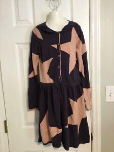 mini boden purple dress pink stars long sleeve knit 11-12Y
