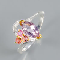 Amethyst Ring Silver 925 Sterling Unique Fine Art  Size 7.75 /R139765